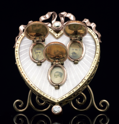 A Rare and Important Jeweled Gold and Guilloché Enamel Photograph Frame Marked Fabergé (another view)