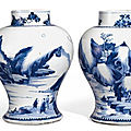 A pair of blue and white baluster vases, qing dynasty, kangxi period (1662 – 1722)