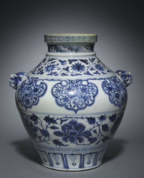 Jar with Lion-Head Handles, 1300s, China, Jiangxi province, Jingdezhen , Yuan dynasty
