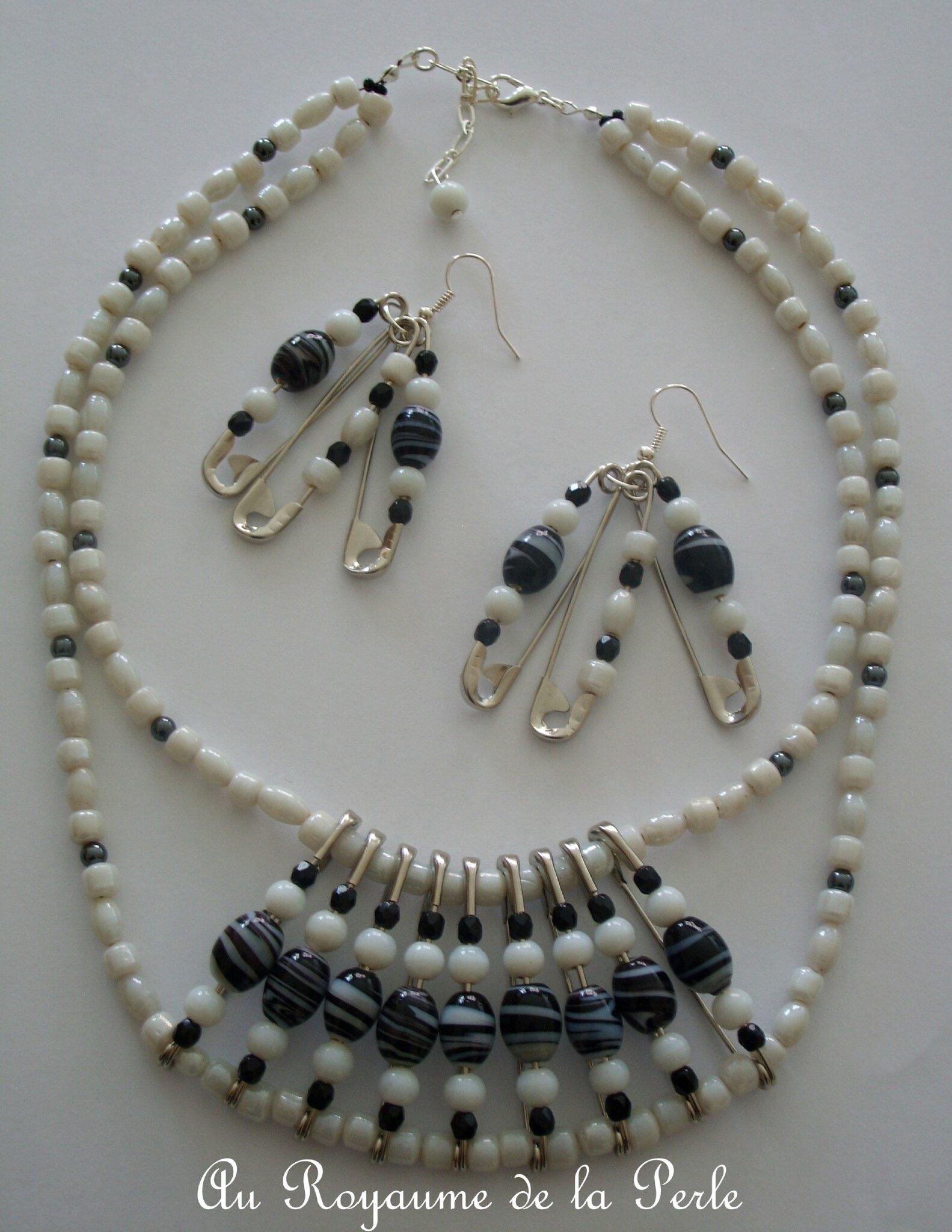 collier noir et blanc sur pingles nourrice des. Black Bedroom Furniture Sets. Home Design Ideas