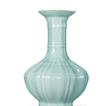 A rare celadon-glazed octagonal lobed vase, qianlong six-character seal mark in underglaze blue and of the period (1736-1795)