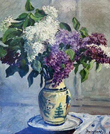 Siewkosky Alfred les-lilas-dans-un-vase-chinois