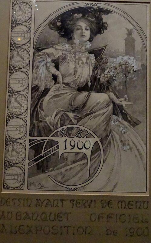 Mucha dessin menu 1900