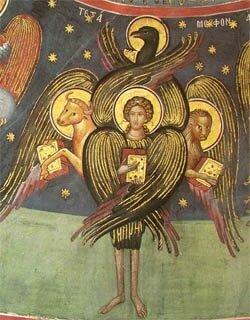 Chérubin à têtes d'homme, de lion, d'aigle, de boeuf, monastère des Météores en Thessalie