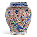 A wucai 'birds and flowers' jar, transitional period, 17th century