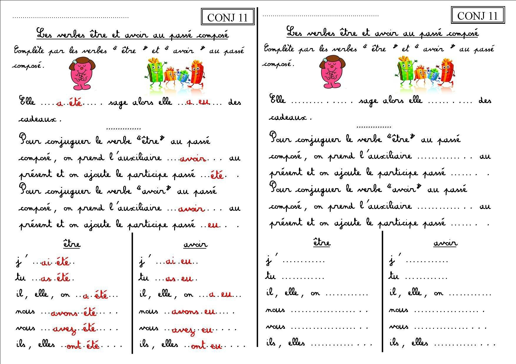 CONJ 11 CE1 : les verbes être et avoir au passé composé - La classe des CE de Villebois
