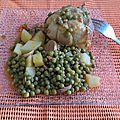 Paupiettes de veau, lardons, champignons, petits pois, pomme de terre !