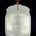 A white jade pendant, 18th century