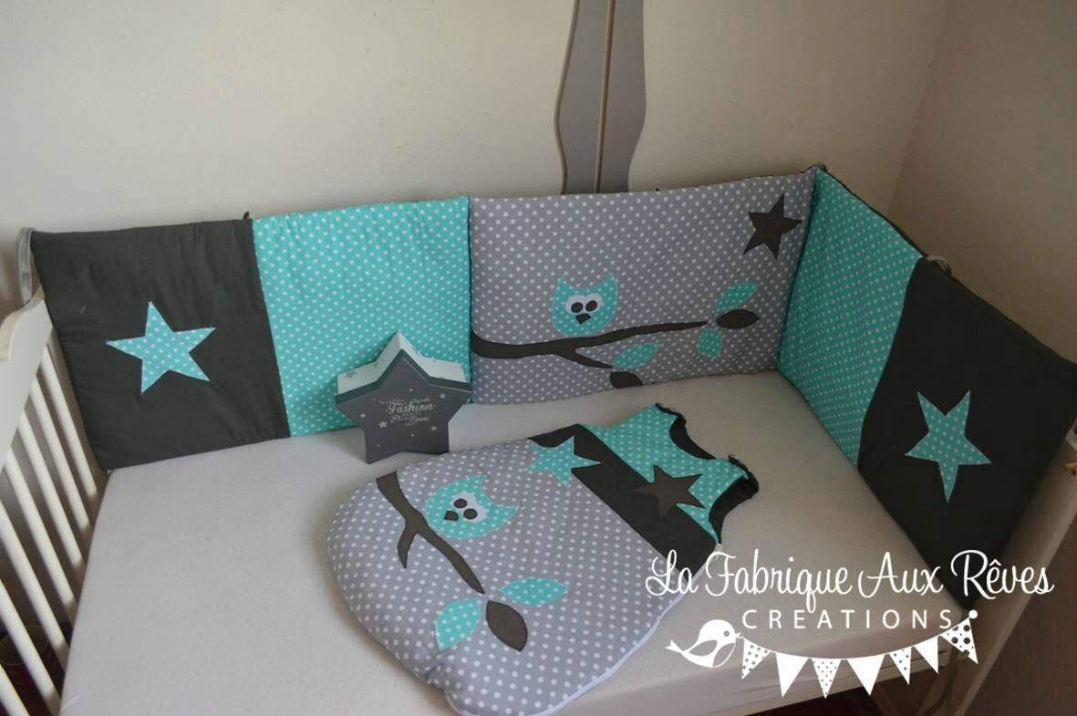 linge lit bébé hibou étoiles turquoise gris - décoration chambre enfant bébé hibou étoiles turquoise gris