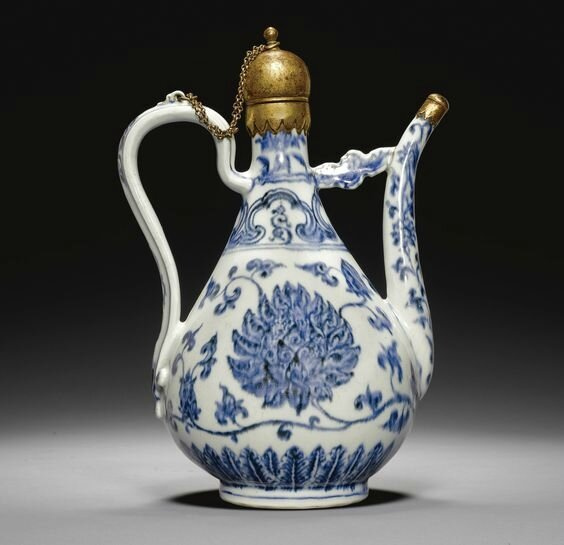 A rare blue and white porcelain ewer made for the Islamic market, China, Ming