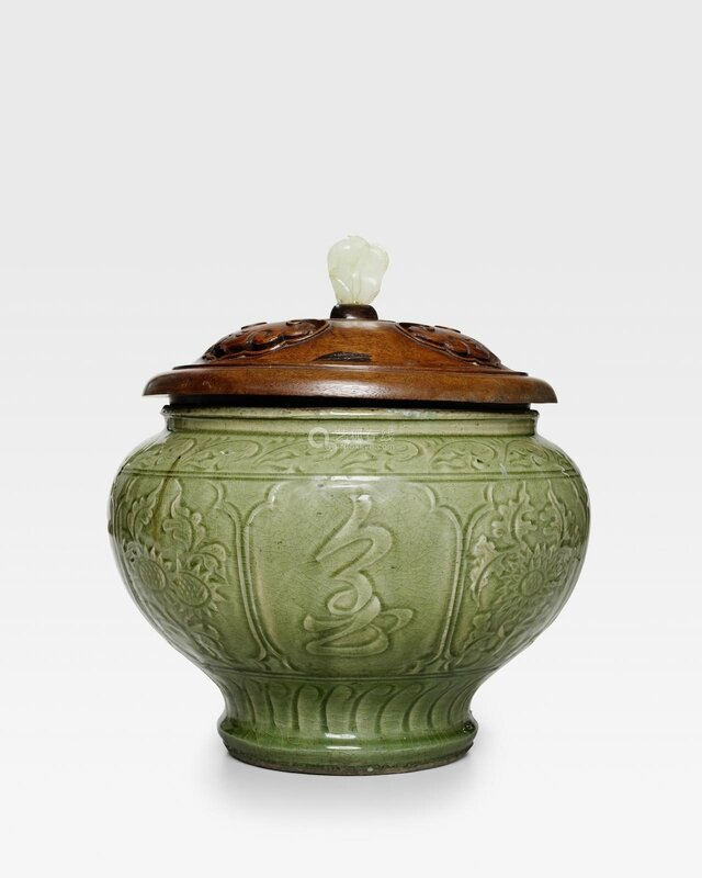 A carved Longquan celadon wine jar, Late Yuan-Early Ming dynasty