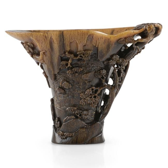 Lot 23. A carved rhinoceros horn libation cup, 17th century; 16cm., 6 1/4 in. Estimate 50,000—70,000 GBP. Lot Sold 181,250 GBP. Photo Sotheby's 2011