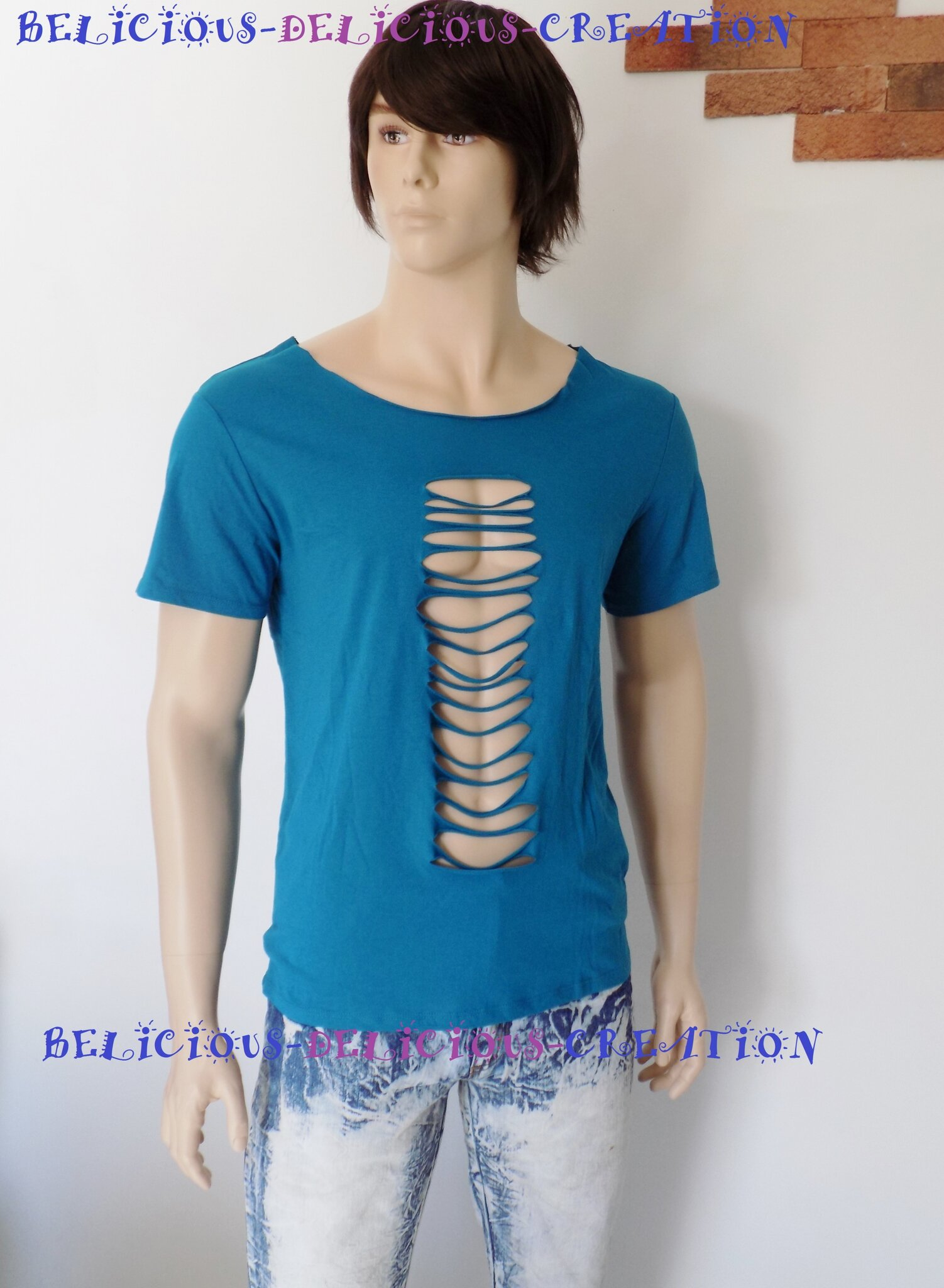 t-shirt for men blue slashed