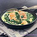Pavé de saumon et sauce crème aux épinards