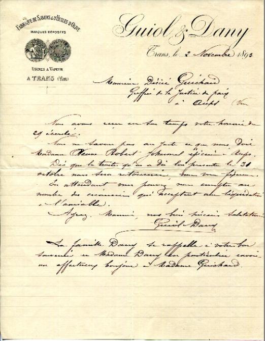 Papier en-tête Guiol et Dany 1893