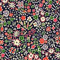 Tissu liberty kayoko marine rouge vert