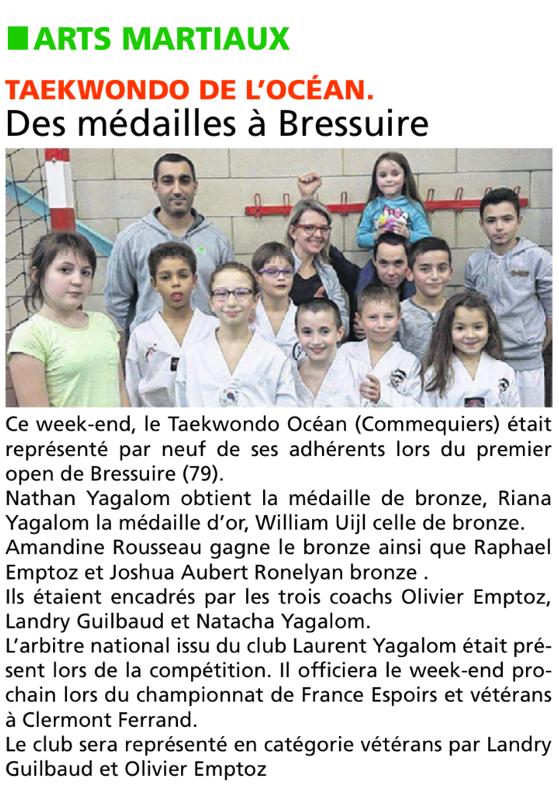 Compétition Bressuire du 24 janvier 2016