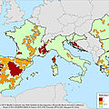 Areas with low population density in South Europe