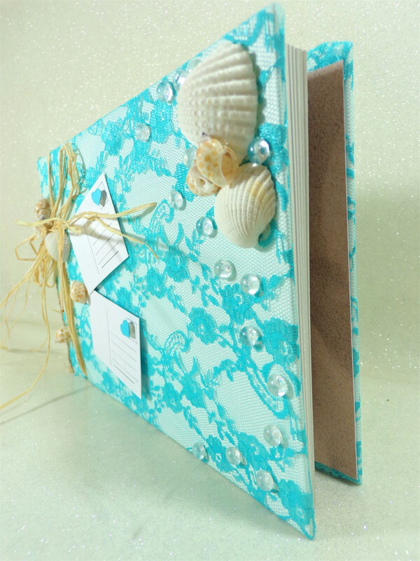 Livre d'or album photo mariage coquillage dentelle turquoise blanc