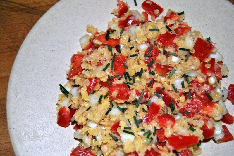 Salade de lentilles corail aux poivrons