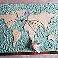 3 chocolats planisphère et avion en pâte à sucre
