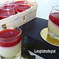Pintxos sucré - pana cotta chocolat blanc, coulis de fraises au piment d'espelette aoc