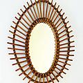 Déco vintage ... miroir rotin ovale * timéo