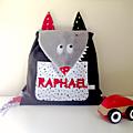 Sac à dos enfant crêche loup personnalisé avec le prénom Raphaël