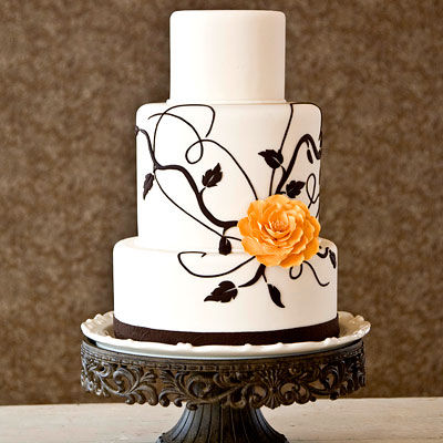 blackandorangeweddingcake