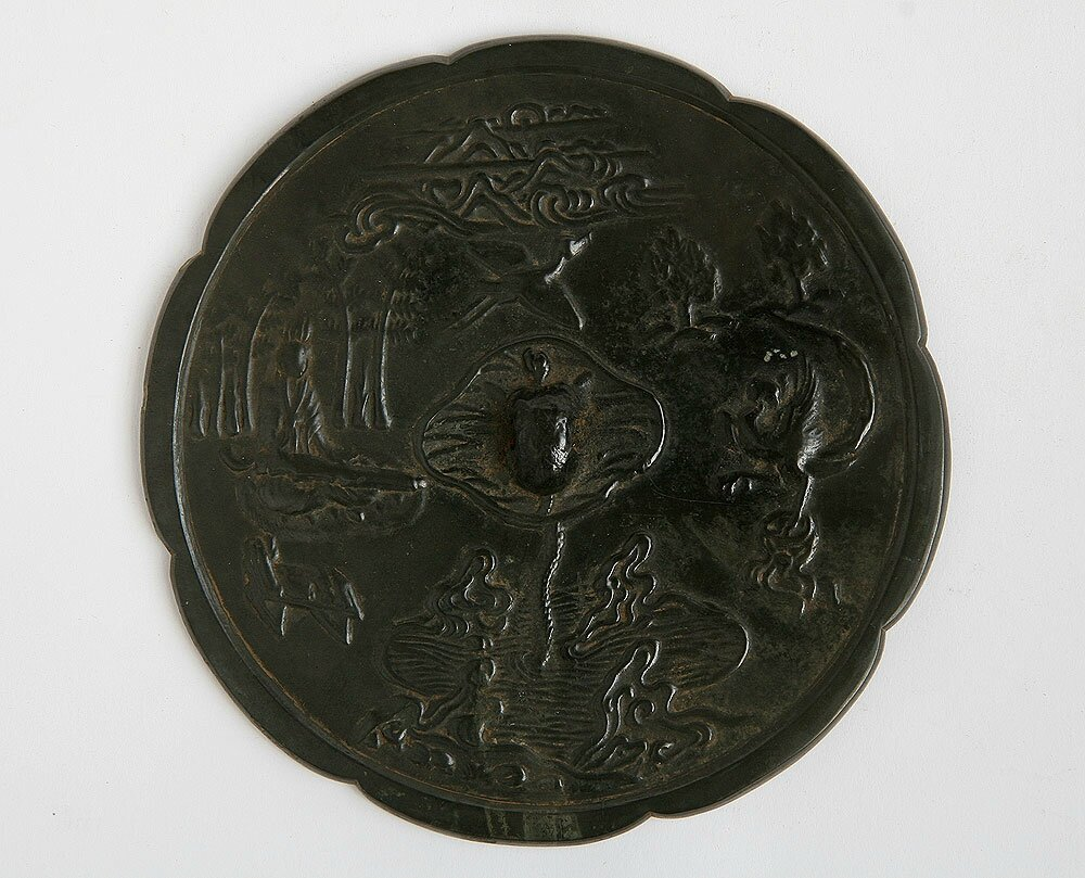 Bronze Mirror with Boya-playing-qin Design, Tang Dynasty