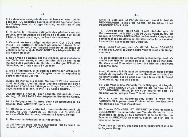 AU PRESIDENT KABILA DE L'UNION DE NTIMANSI b