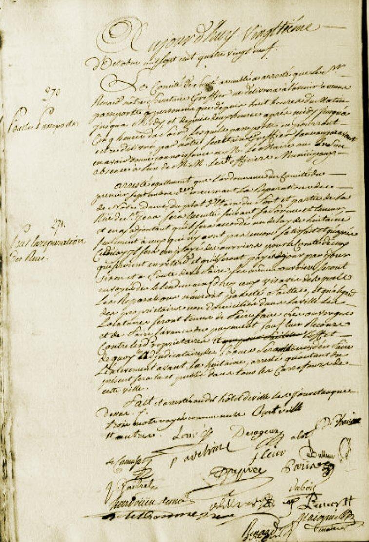 Le 20 octobre 1789 à Mamers : Passeports et réparation des rues.