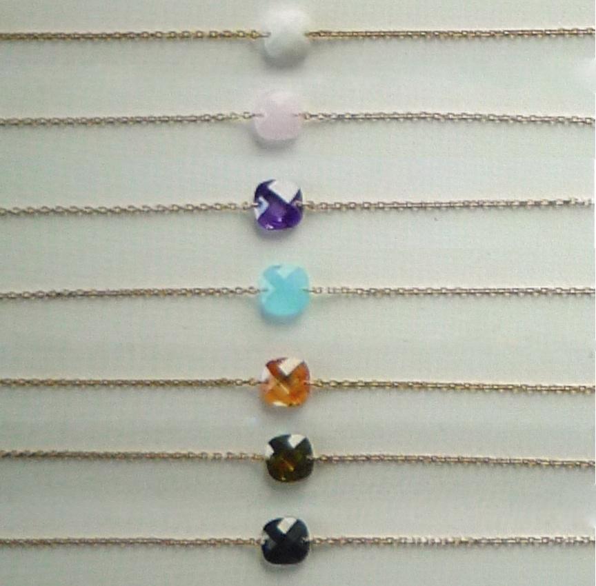 Bracelet ou Collier en argent ou plaqué or et zirconium