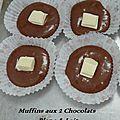Muffins aux 2 chocolats : blanc & lait