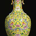 A brilliantly enamelled yellow-ground famille-rose 'phoenix' vase, Seal mark and period of Qianlong (1736-1795)a