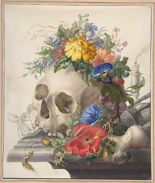 Herman Henstenburgh (Dutch, 1667–1726) Vanitas Still Life Netherlands, Watercolor, gouache, and gum arabic on parchment, 33 x 27.9 cm Metropolitan Musem of Art, 2003.30
