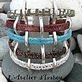 Qui osera l'originalité par excellence avec ce bracelet manchette multirangs en cuirs de différentes textures et de différentes