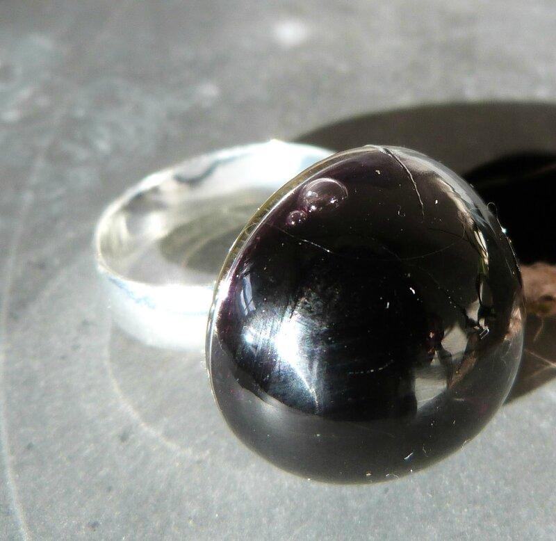 Bague Dôme liquide noir (8)