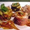 Filet mignon de porc en croûte de lard fumé et ses petits légumes