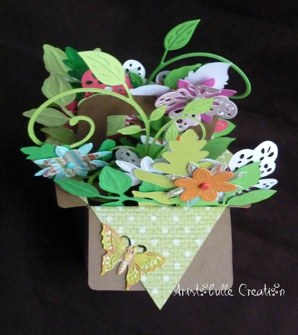 Card-in-a-box panier de fleurs - dos