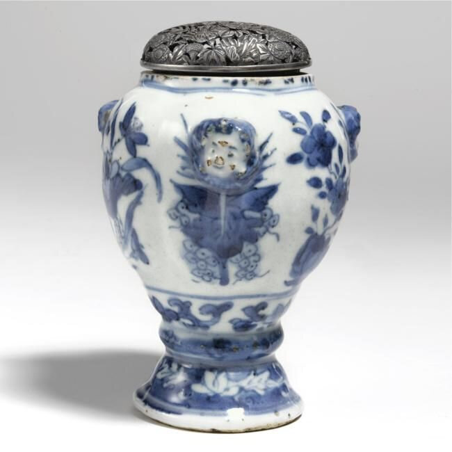 A rare blue and white jar for the Portuguese market, circa 1610-1630