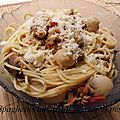 Spaghettis aux fruits de mer et pesto