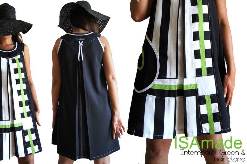 Robe Trapèze Bicolore Noire & blanche Rayures Géométriques, Graphique couleur Pop Vert !