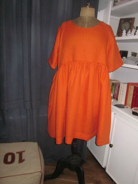 Robe RAYMONDE en lin orange (2)