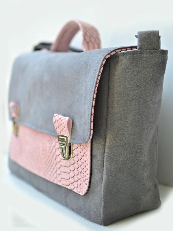 sac cartable gris et rose, sac femme, cartable femme, suédine grise, simili cuir dragon rose, szp, shirley ze pap