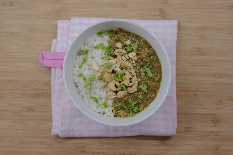 Dhal Rhubarbe, Courgette et Noix de Cajou [vegan]