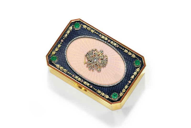 An Important Jeweled and Enameled Gold Imperial Presentation Snuff Box, St