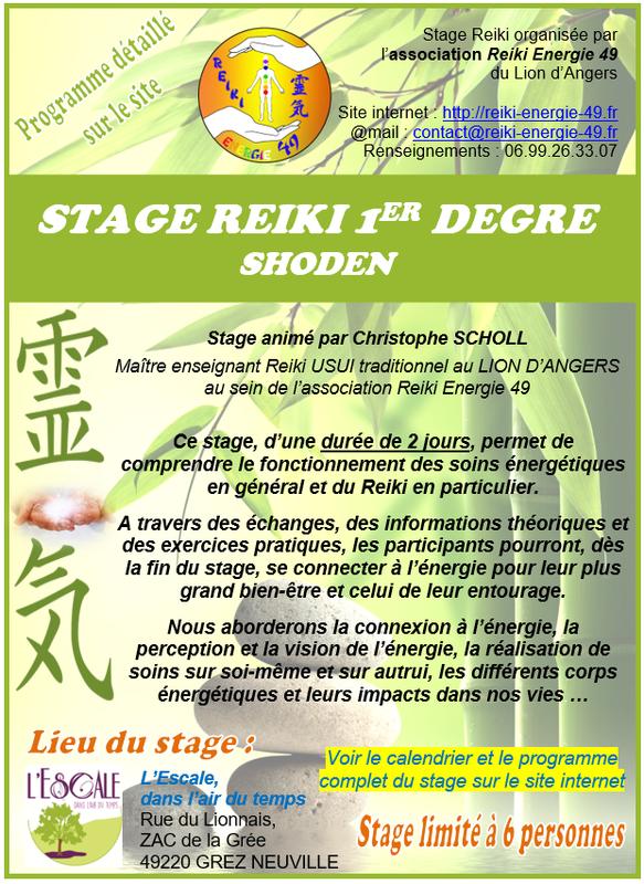 affichette Stage Reiki 1er degré