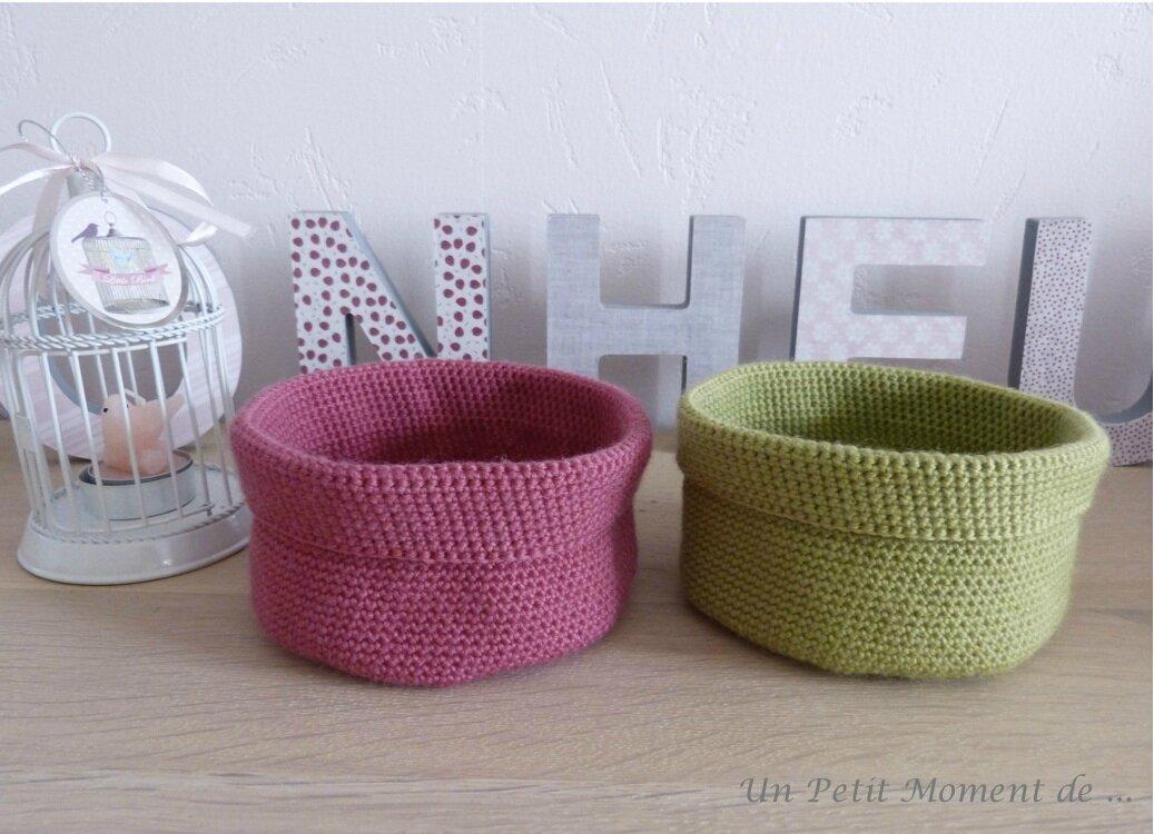 Paniers en crochet rose et vert