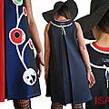 Robe trapèze Rouge/ bleu électrique/ Noire Tendance Femme 2015 Graphique et applications Stylisés aux couleurs acidulées